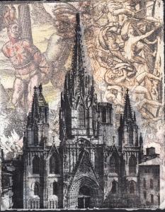 """Cathedral de las Casas, 12""""x9"""", transfer and silkscreen, 2015 monoprint, $300"""