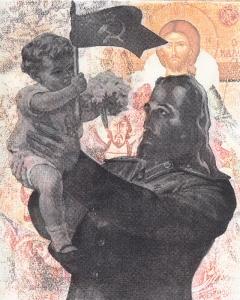 """White Jesus Loves the Little Children (all the little children of the gulag), 12""""x9"""", transfer and silkscreen on BFK, 2015, monoprint, $300"""