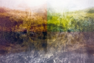 "Himmel und Erde, 12""x18"", inkjet and silkscreen on BFK, 2014, sold out"