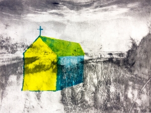 """Pastoral Landscape, 9""""x12"""", photopolymer-gravure and pronto plate on BFK, 2014, sold out"""
