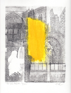 """The Space Between Spaces, 12""""x9"""", transfer and monotype on BFK, 2015, monoprint, $200"""