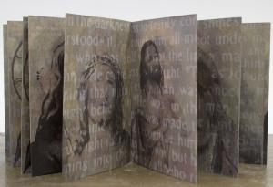 "Word Became Flesh, 7 1/2""x52"", inkjet, silkscreen, and monotype on BFK, 2014"